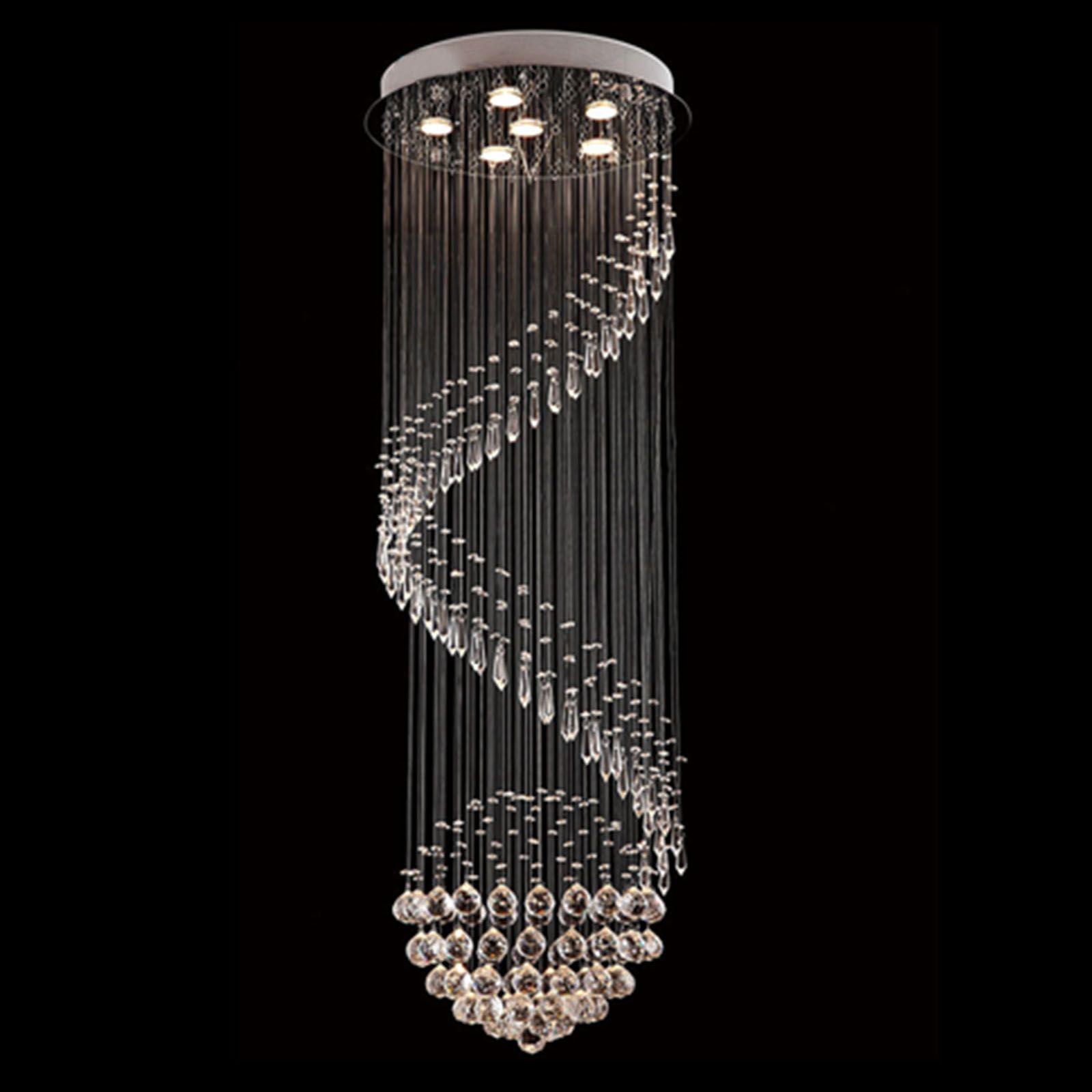Byb modern chandelier rain drop lighting spiral wave crystal ball byb modern chandelier rain drop lighting spiral wave crystal ball fixture pendant ceiling lamp arubaitofo Gallery