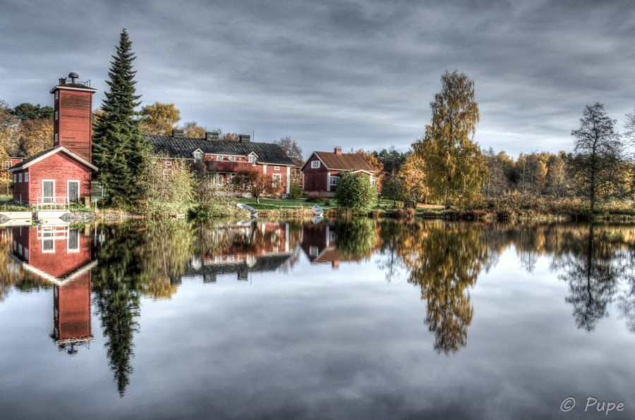 Fall in Finland. Traditional landscape of the old ironworks community in Noormarkku, west of Finland.