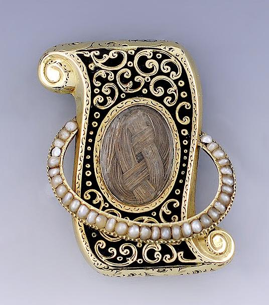 Antique Victorian Memento Mori Morning Hair Jewelry Watch Chain w Fob Charm