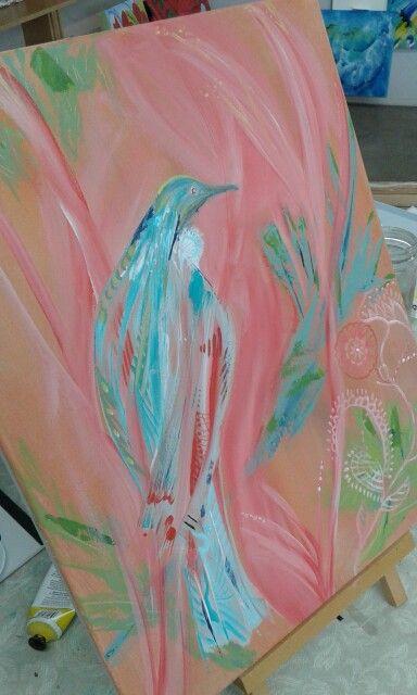 Contemporary piece. In Progress  Tui New Zealand art.  I can post overseas.
