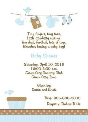 Blue Baby Clothes Laundry Line Baby Shower Invitation Kin Baby Shower Invitation Wording Baby Shower Invitation Wording Boy Baby Shower Invitations For Boys