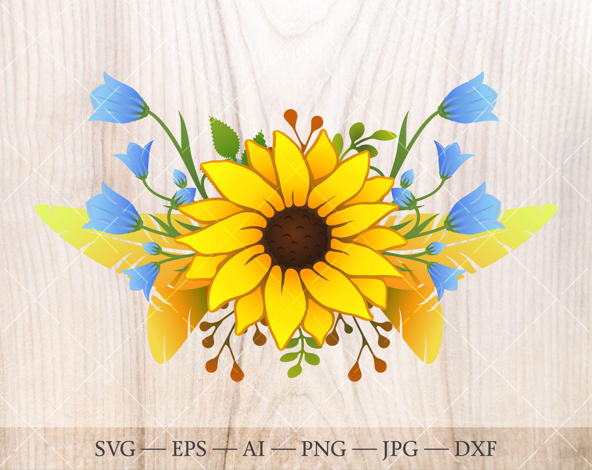 Sunflower Bouquet Svg Sunflower Feather Clipart Floral