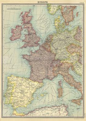 karta vintage Poster   Vintage Karta Europa i gruppen Alla Produkter / Skyltar  karta vintage