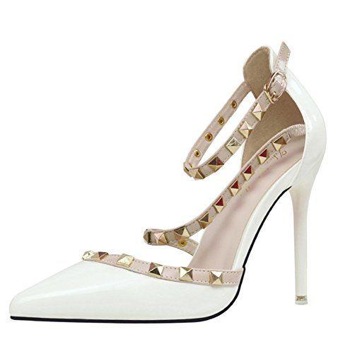 Femme escarpin chaussures Élégant High Heels rivet clouté High Heels beige 41 MEKfSiiU