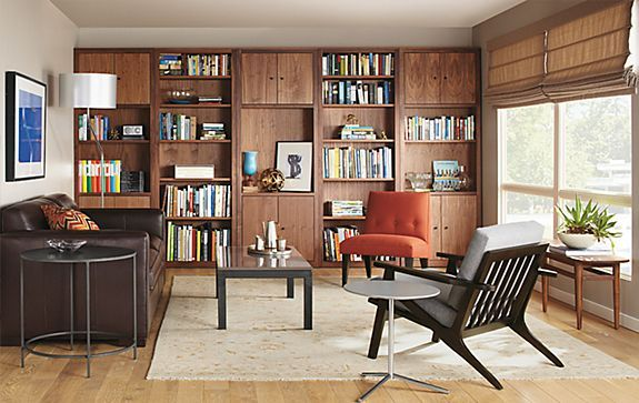 Woodwind Bookcases With Ian Leather Sofa Living Room Board With Images Bookcase Wall Unit Wall Unit Modern Furniture Living Room