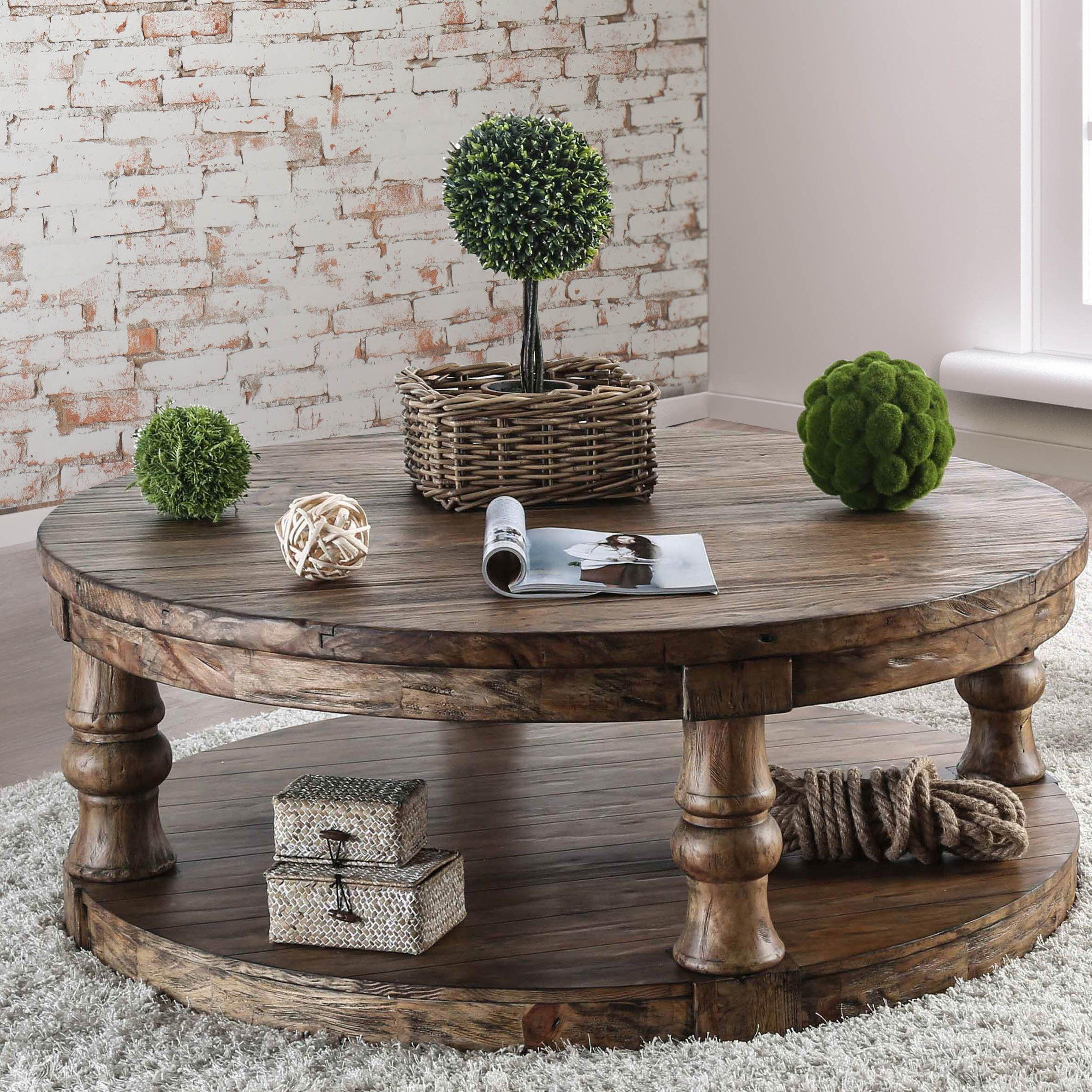 Amstel Floor Shelf Coffee Table with Storage | Round wood coffee table, Decorating coffee tables ...