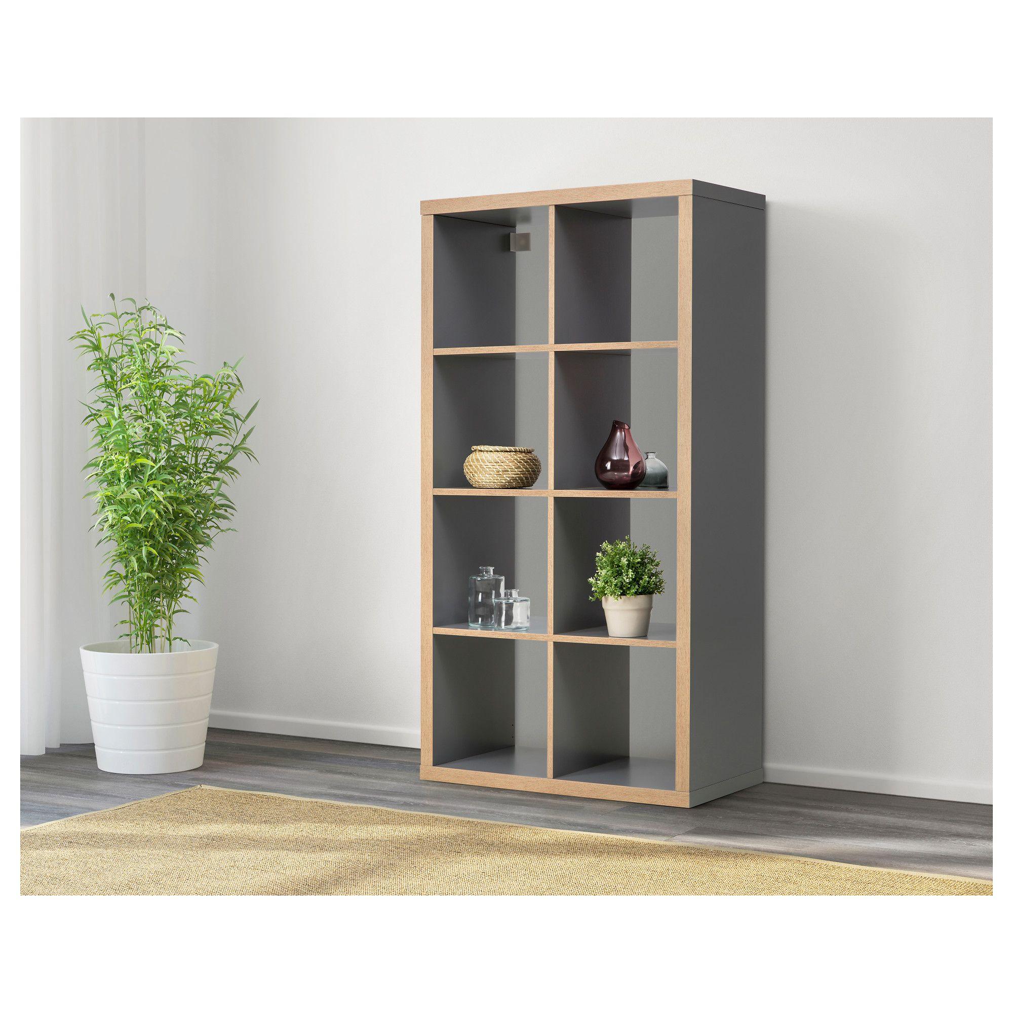 KALLAX Shelf unit gray, wood effect 30 3/8x57 7/8