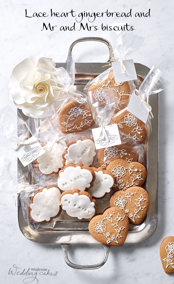 Lace And Mr Mrs Iced Gingerbread Biscuits With Gift Bags And