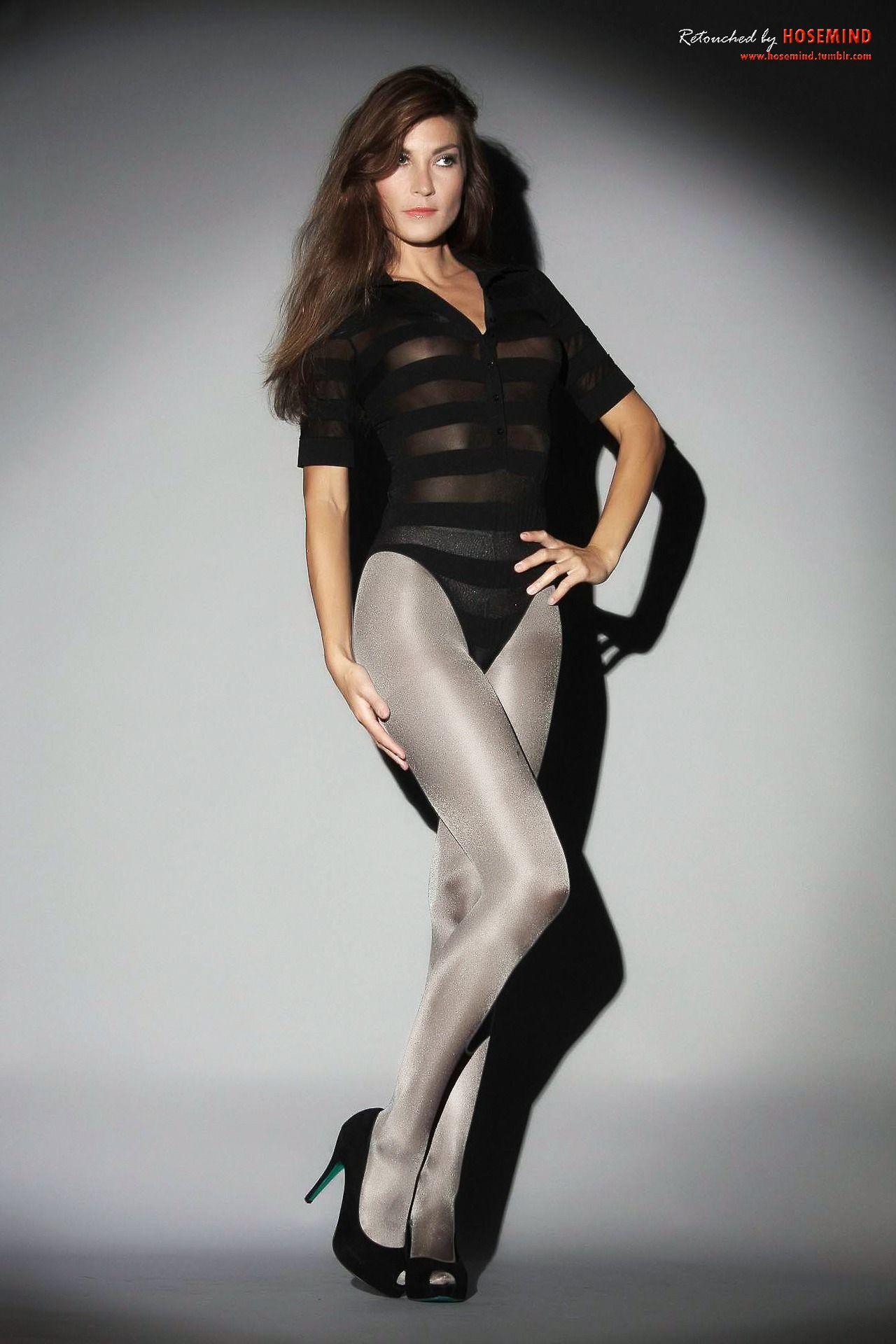 Silver shimmer pantyhose.   Nylon and sheer