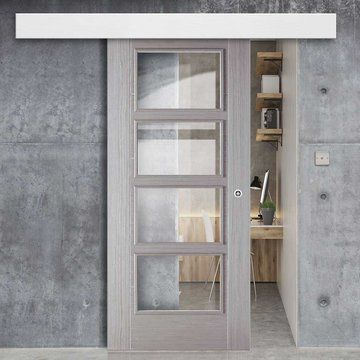 Bespoke Thruslide Surface Light Grey Vancouver Door With Clear