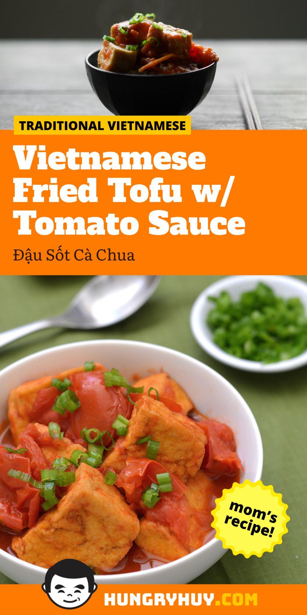 Vietnamese Fried Tofu w/ Tomato Sauce (Đậu Sốt Cà Chua) - Hungry Huy