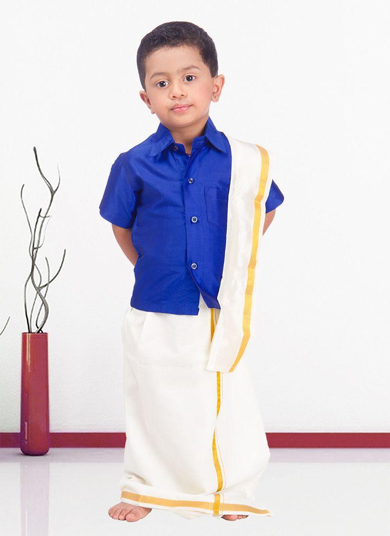 4d96db9157441 Smart Blue Raw  Silk Kids  Shirt N  Dhoti Combo