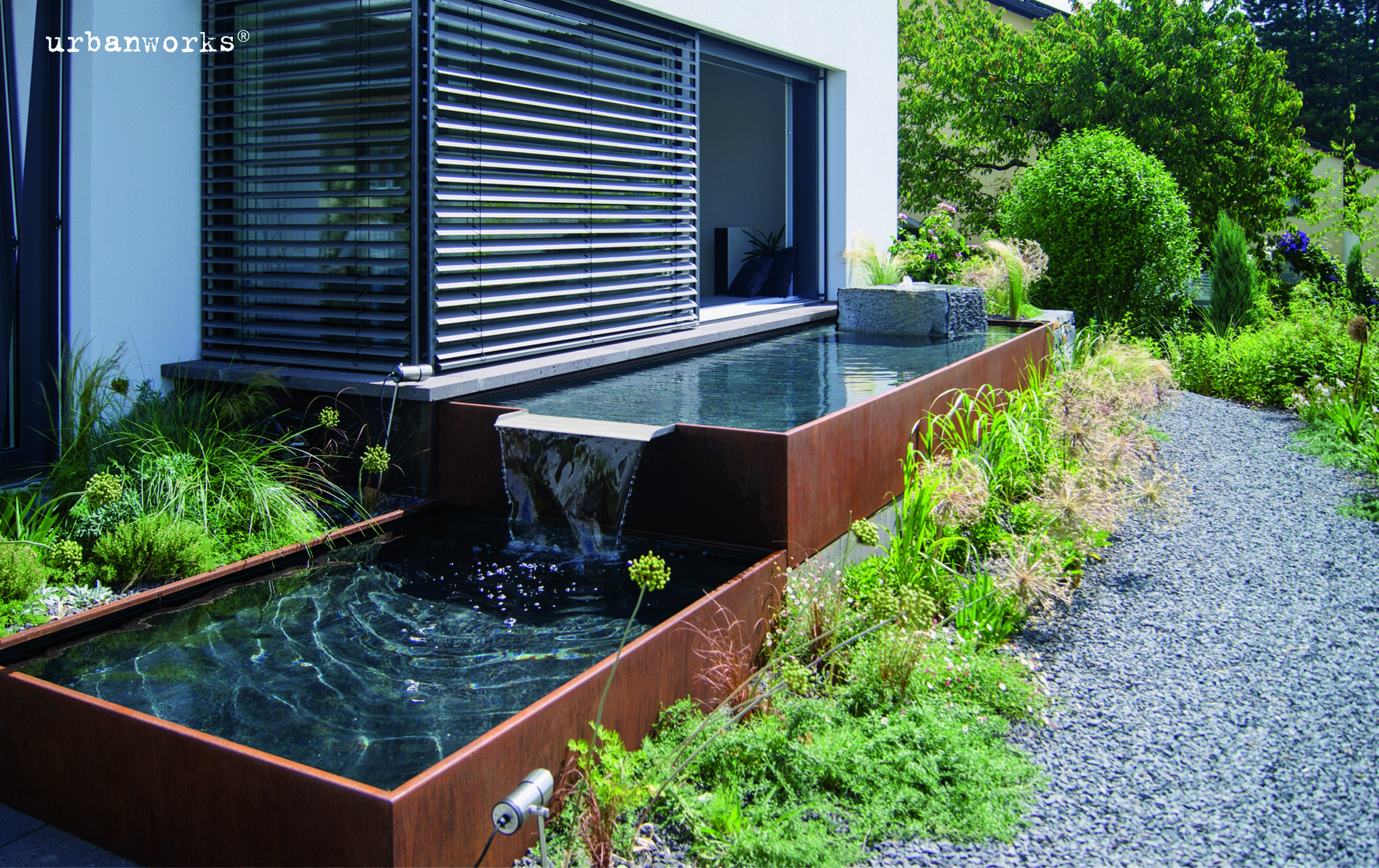 Aqualinea Kaskadenbrunnen System Wasserbecken Garten Wasserspiel Garten Brunnen Garten
