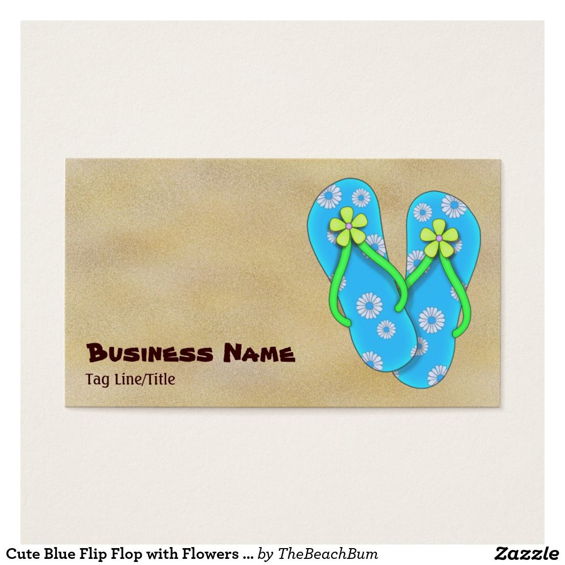 Cute Blue Flip Flop with Flowers on Sand Beach Business Card | Our ...