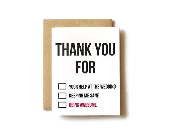 Thank You Card Wedding Funny Thank You Card By Pattersonpaper
