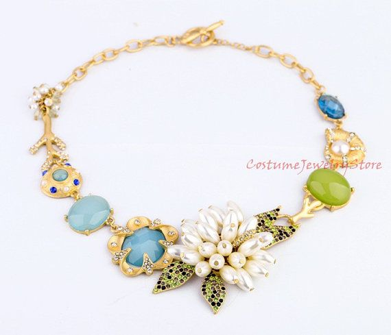 Floral Necklace with Oversize Stones and by CostumeJewelryStore, $14.50