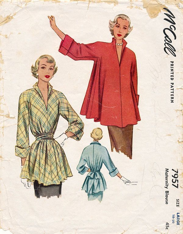 McCall 7957 this top is so glam. This 1950s vintage pattern could be maternity…