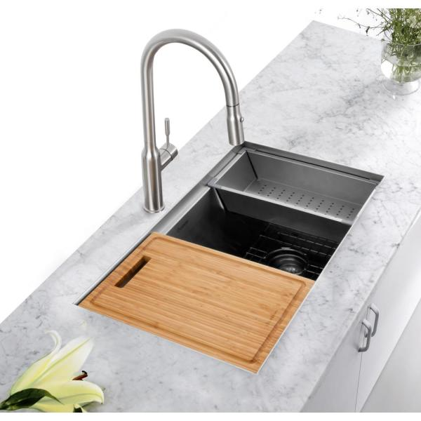Glacier Bay All In One Undermount Stainless Steel 27 In Single Bowl Kitchen Workstation Sink With Faucet And Accessories Kit 4303f 1 The Home Depot In 2021 Sink Kitchen Work Station Undermount Kitchen Sinks