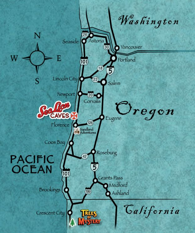 Sea Lion Caves Regional Map Oregon Road Trip Sea Lion Oregon Vacation