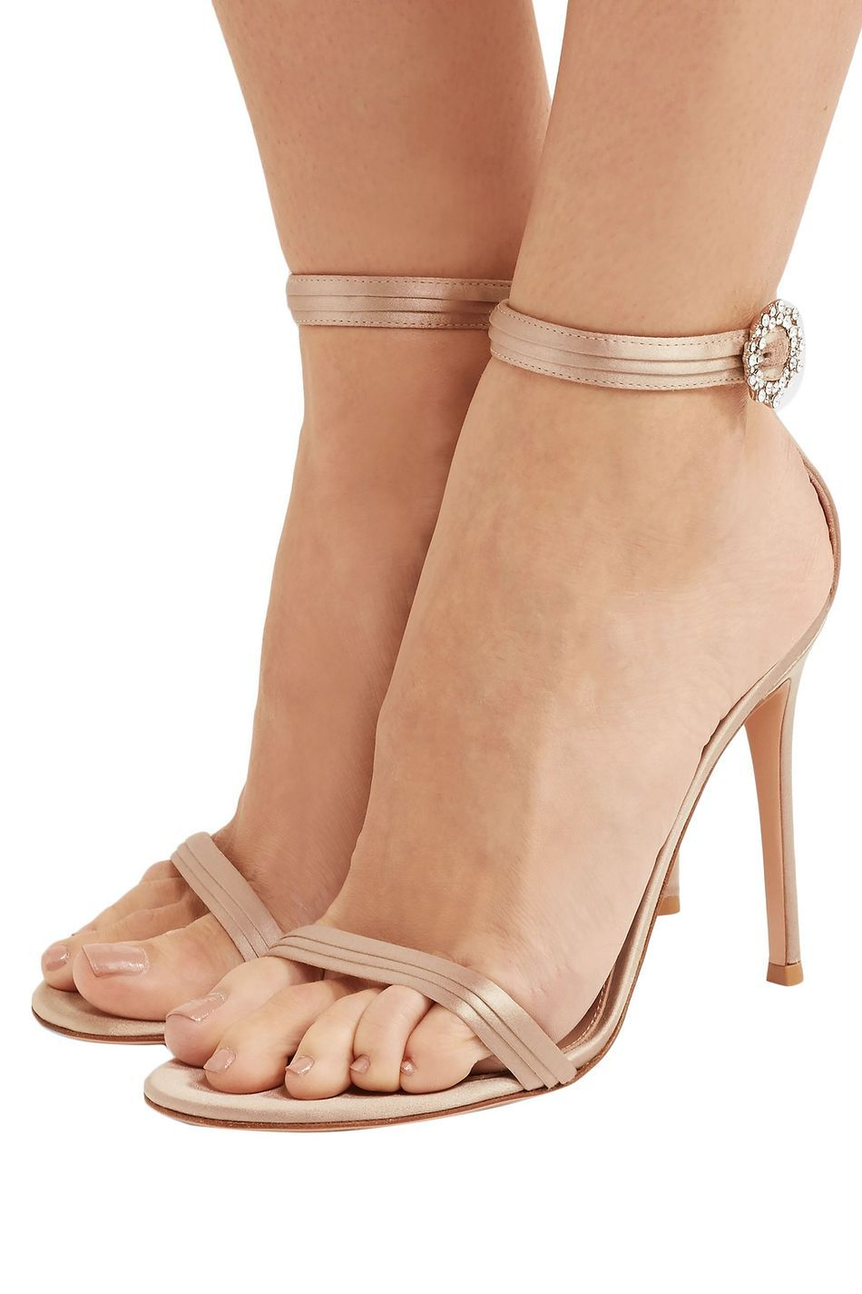 Neutral Portofino 100 Crystal Embellished Satin Sandals Sale Up To 70 Off The Outnet Gianvito Rossi In 2020 Sandals For Sale Designer High Heels Barbie Shoes