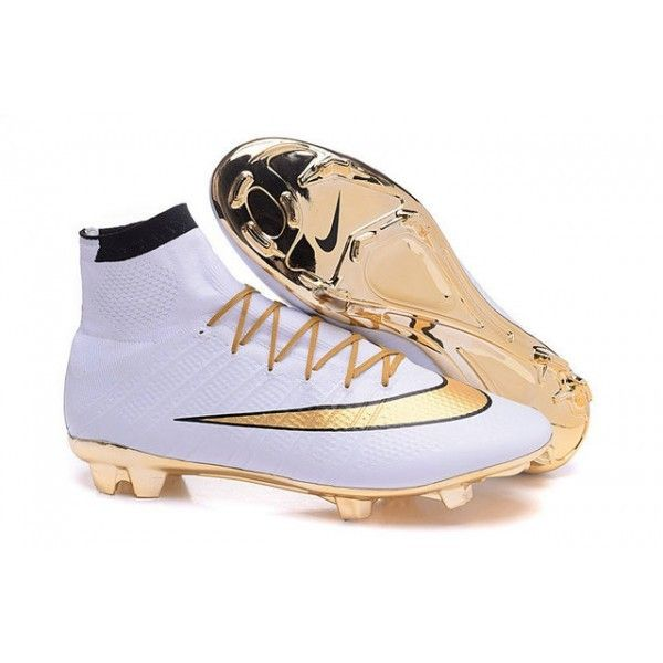 2016 Nike Mercurial Superfly Mens Firm Ground Soccer Cleats Gold White Black Nike Soccer Shoes Soccer Cleats Nike Soccer Shoes