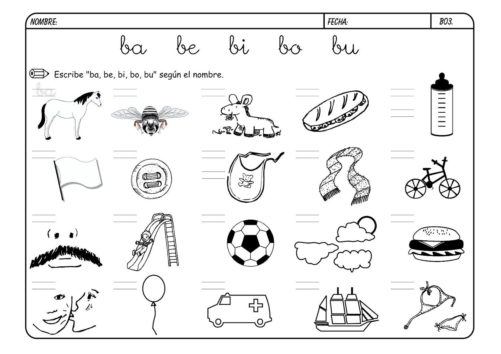 Palabras A Completar Con B Con Imagenes Letra B