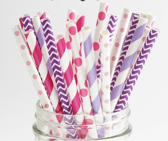 Paper Straws set of 30 Sweet 16 Chevron by TheSimplyChicShop, $4.80