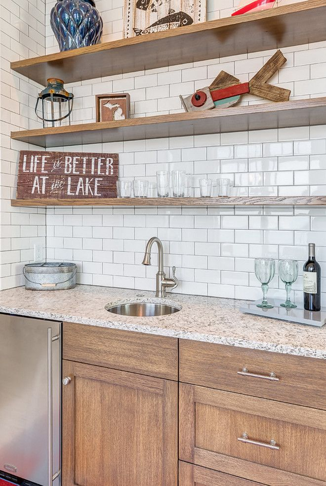 Rustic Butlers Pantry With Floating Shelves And Subway Tile Backsplash Mike Schaap Builders