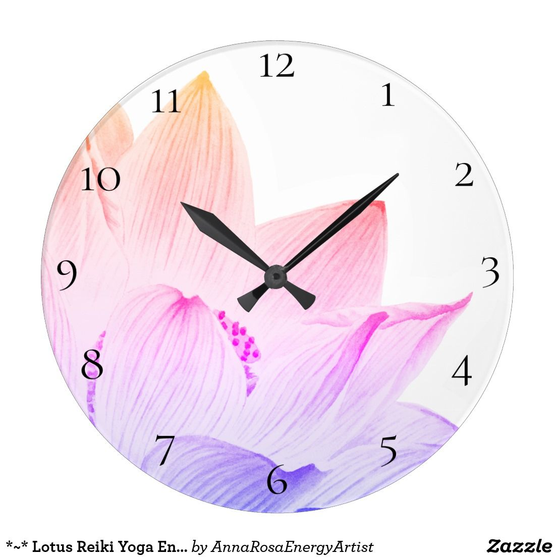 Lotus Reiki Yoga Energy Healer Light Filled Large Clock Zazzle