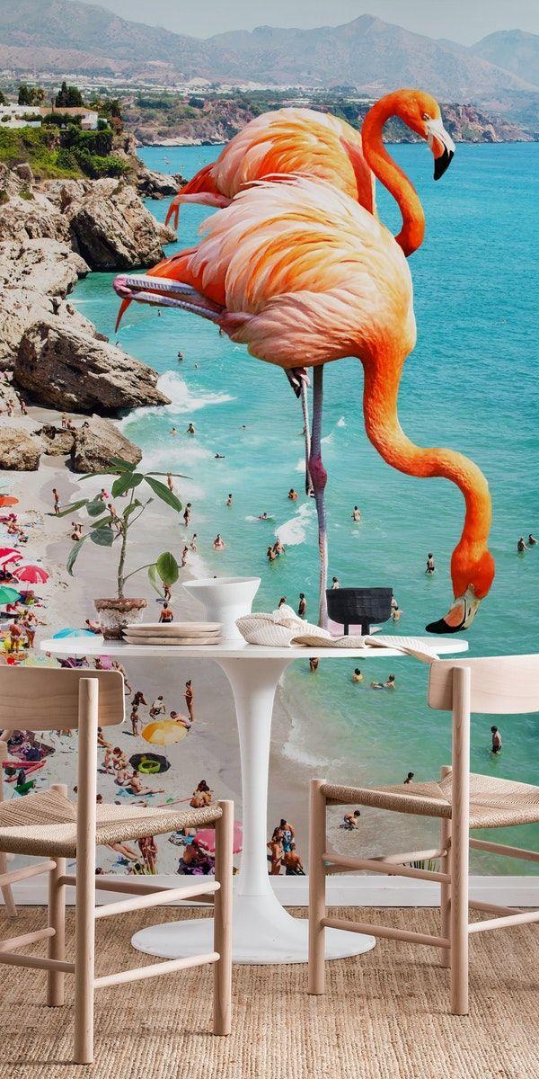 Flamingos on the Beach Wall mural in 2020 Beach wall