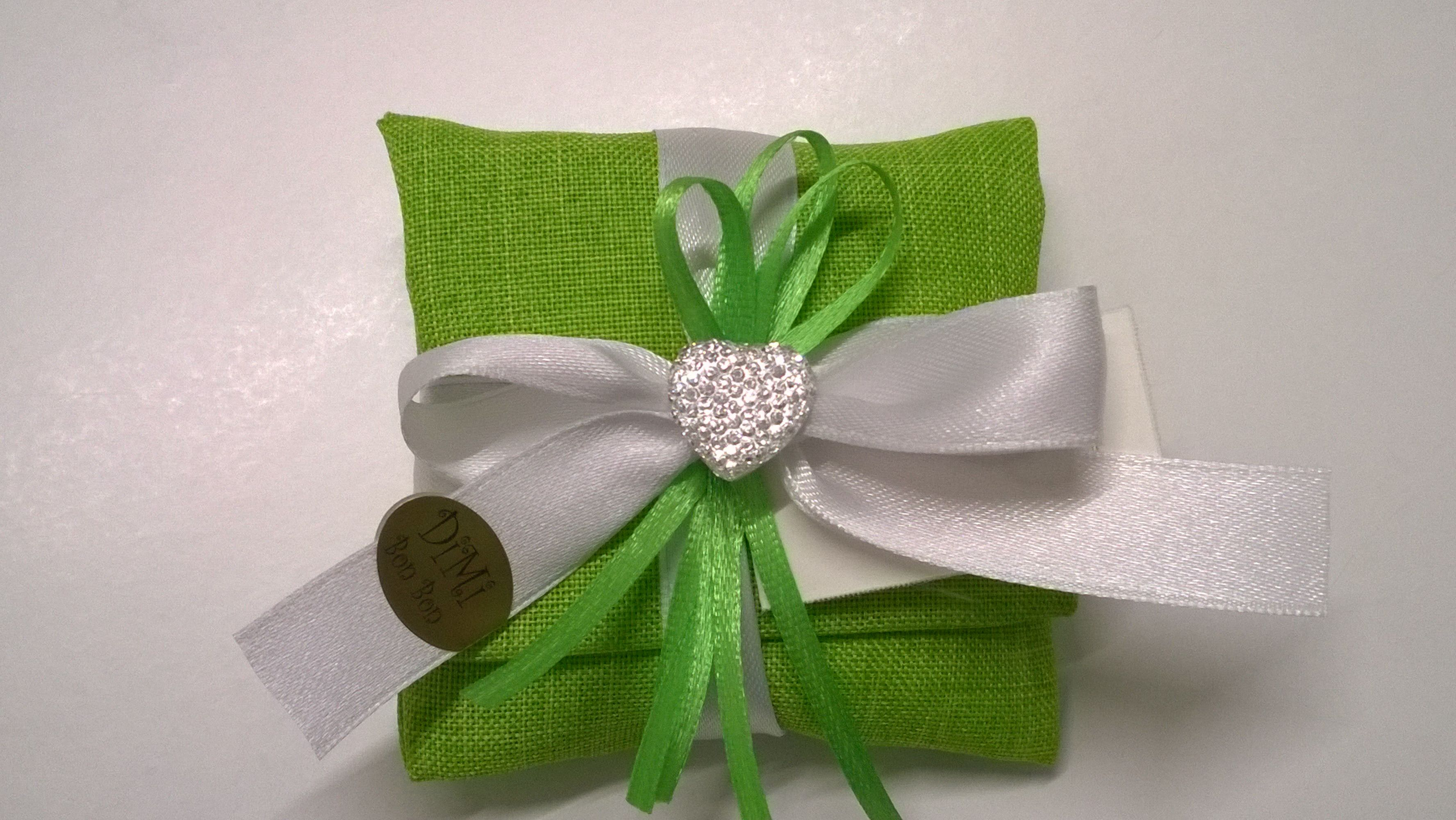 Bomboniere Per Anniversario Di Matrimonio 40 Anni.Sacchettino Cuscinetto Verde Per Anniversario Di Matrimonio 40