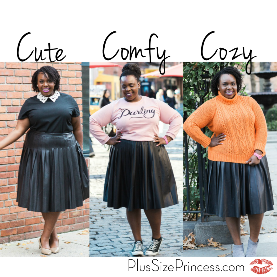 a9ed34d356f Love the pink and orange with the pleated leather skirt. Three Ways to Wear  a Pleated Leather Skirt - Plus Size Princess