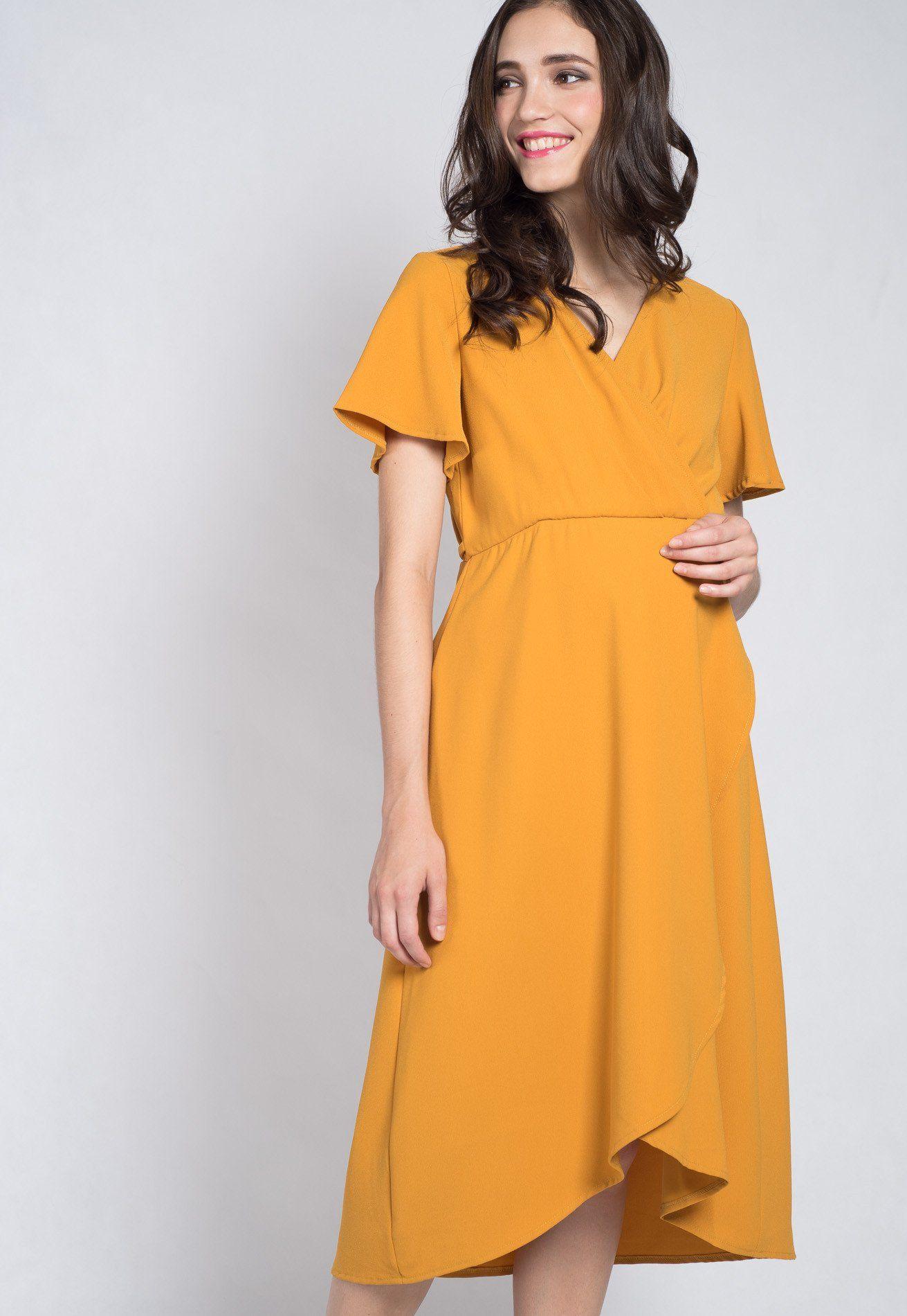 Mothercot Mustard Luciana Office Nursing Dress By Jumpeatcry Maternity And Nursing Wear Nursing Dress Dresses Short Sleeve Dresses [ 1900 x 1311 Pixel ]