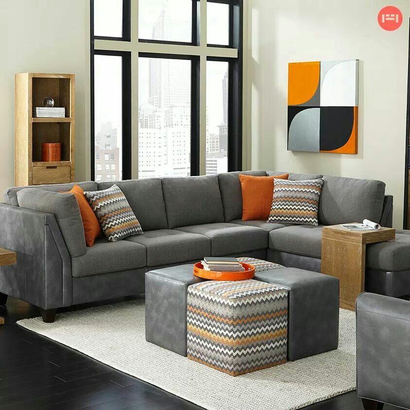 Slate And Burnt Orange It Small Living Room Furniture Living Room Grey