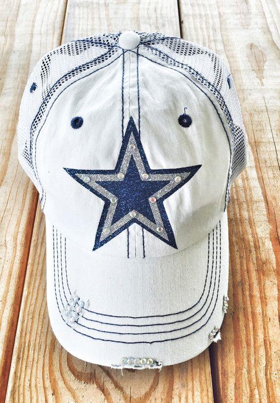 3c35bdf4734b72 Dallas Cowboys Inspired Star Mascot Sports Rhinestone Bling, Women's  Baseball Trucker Cadet Cap (scheduled