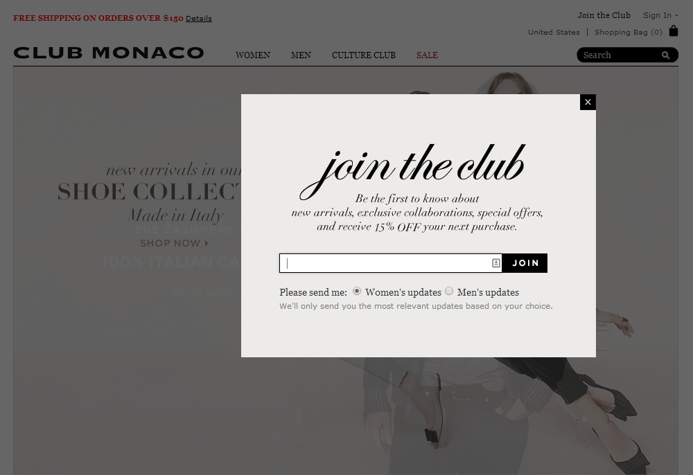 Club Monaco | newsletter | newsletter signup | email form | email | email…