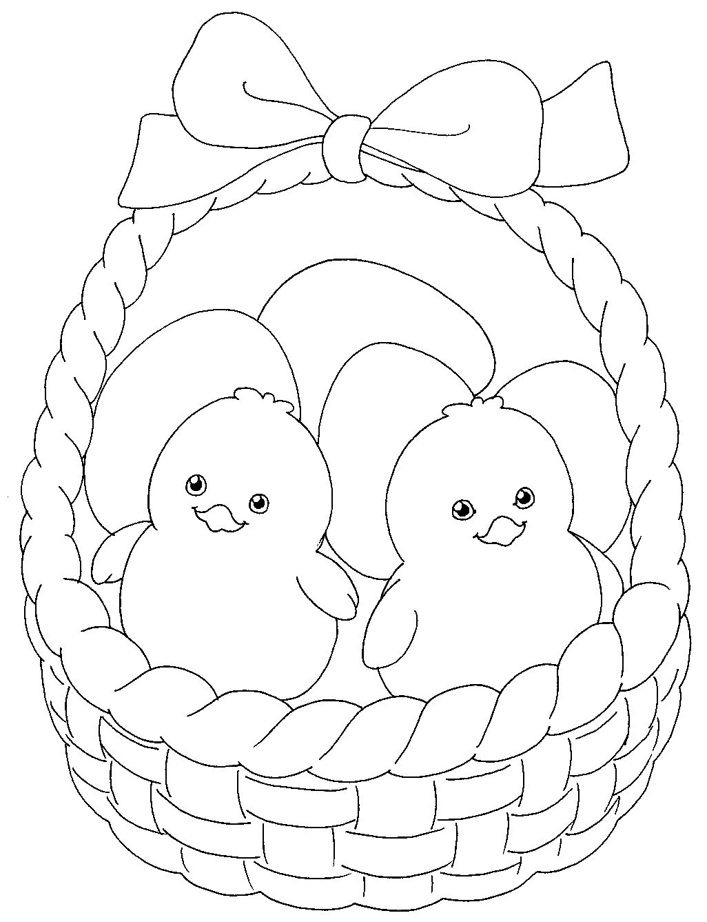 Cute Easter Chicks In A Basket To Colour Easter Colouring
