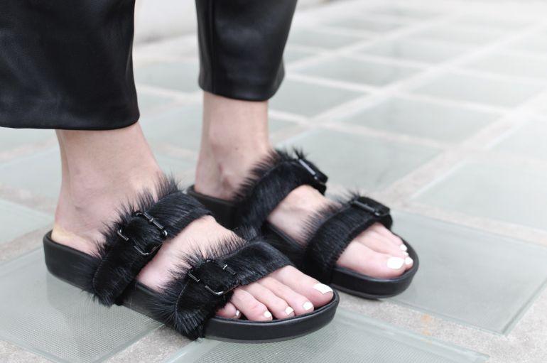 Jennie-Ellen sandals, COS stripe tee, COS, Zara baggy leather pants, hairy sandals  Connected to Fashion / connectedtofashion.creatorsofdesire.com