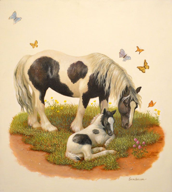 """Asleep On The Farm"" Original oil painting by Ruth Sanderson from the Horse Diaries series is available at the R. Michelson Galleries"