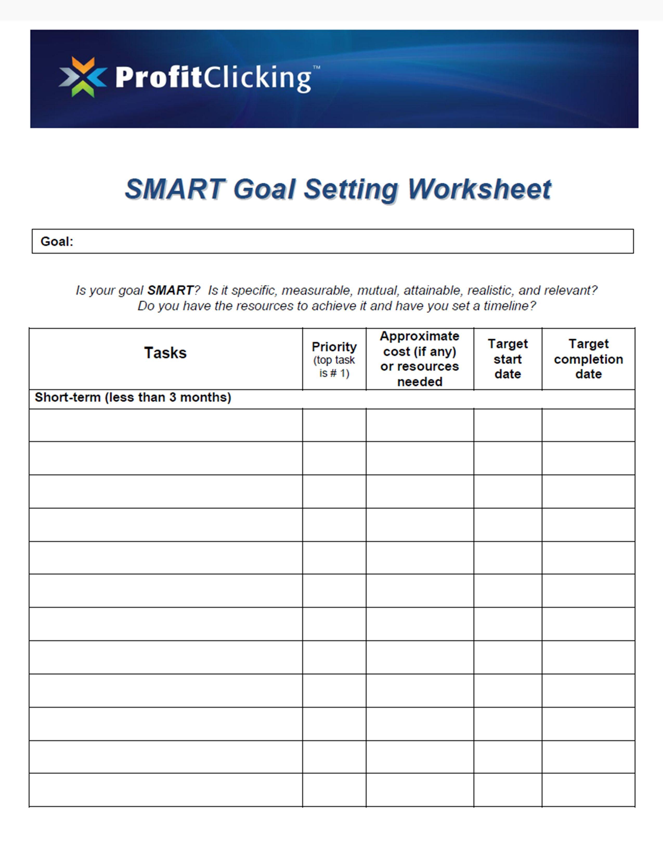 Smart Goals Worksheet 1 | Goals | Pinterest | Smart goals ...
