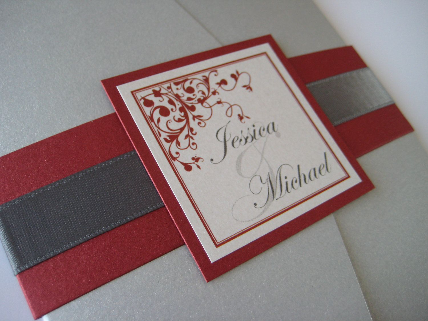 Pocket Fold Wedding Invitation - Silver Metallic Red and White ...