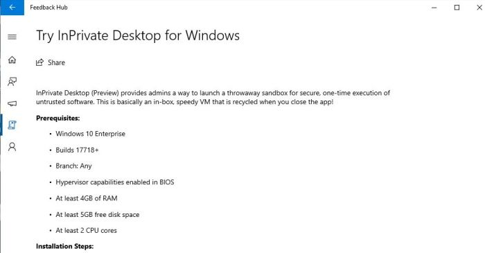 Microsoft InPrivate Desktop feature to let you run