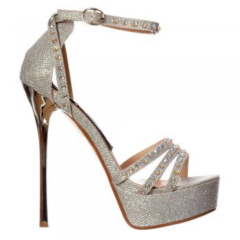 Shoekandi Gold Sparkly Sequin High Heel Platform Stiletto