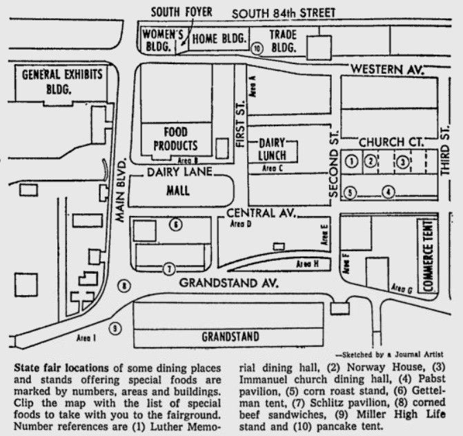 Hmmm.. you might want an updated map for the 2015 State Fair but this one did the trick back in 1961! It was published in the Milwaukee Journal Sentinel. #wistatefair