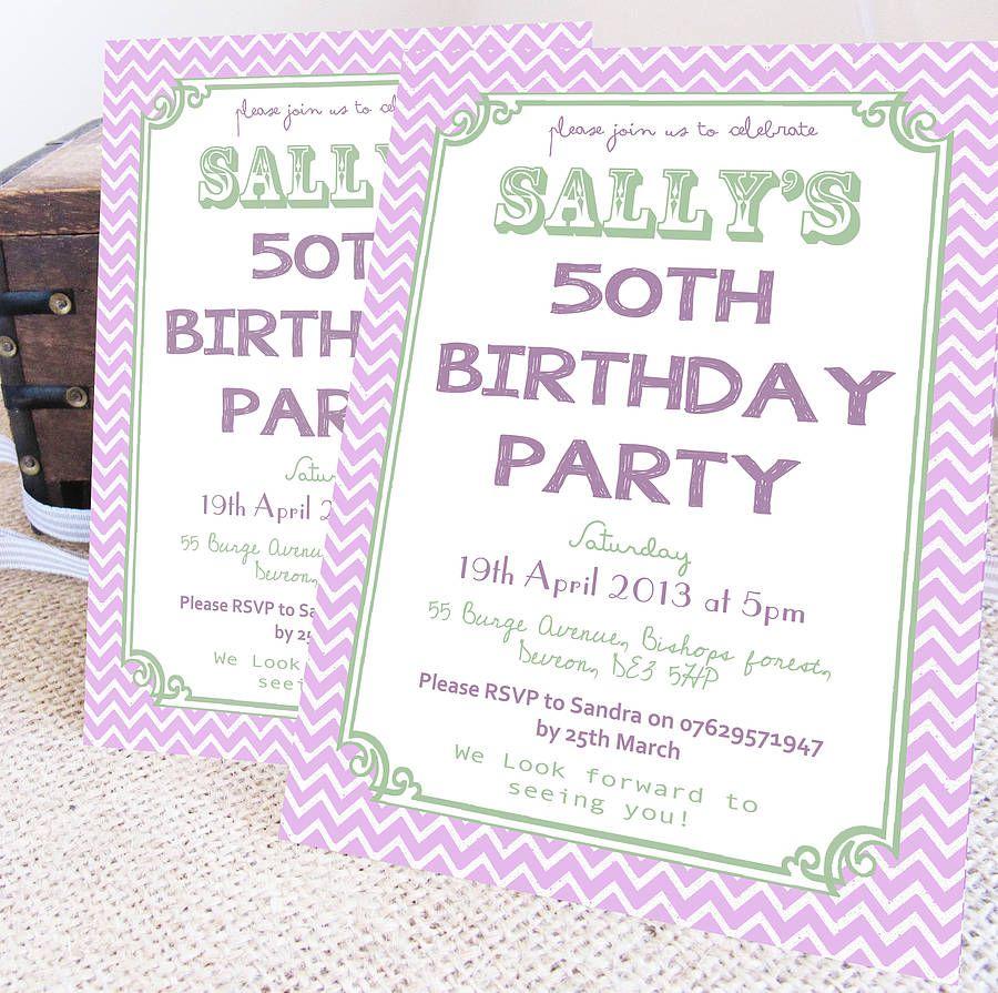 Personalised Watercolour Milestone Birthday Invitations | Milestone ...