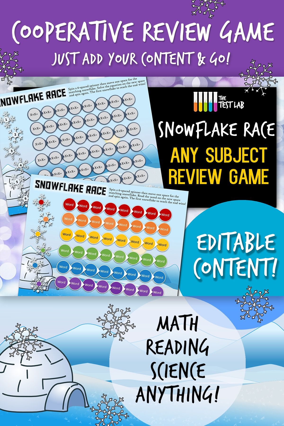 Snowflake Race Cooperative Review Game Any Subject