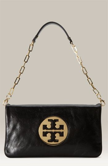 fe9ad63ac3 $350, Black and Gold Embellished Leather Clutch: Tory Burch Reva Clutch  Black Gold.