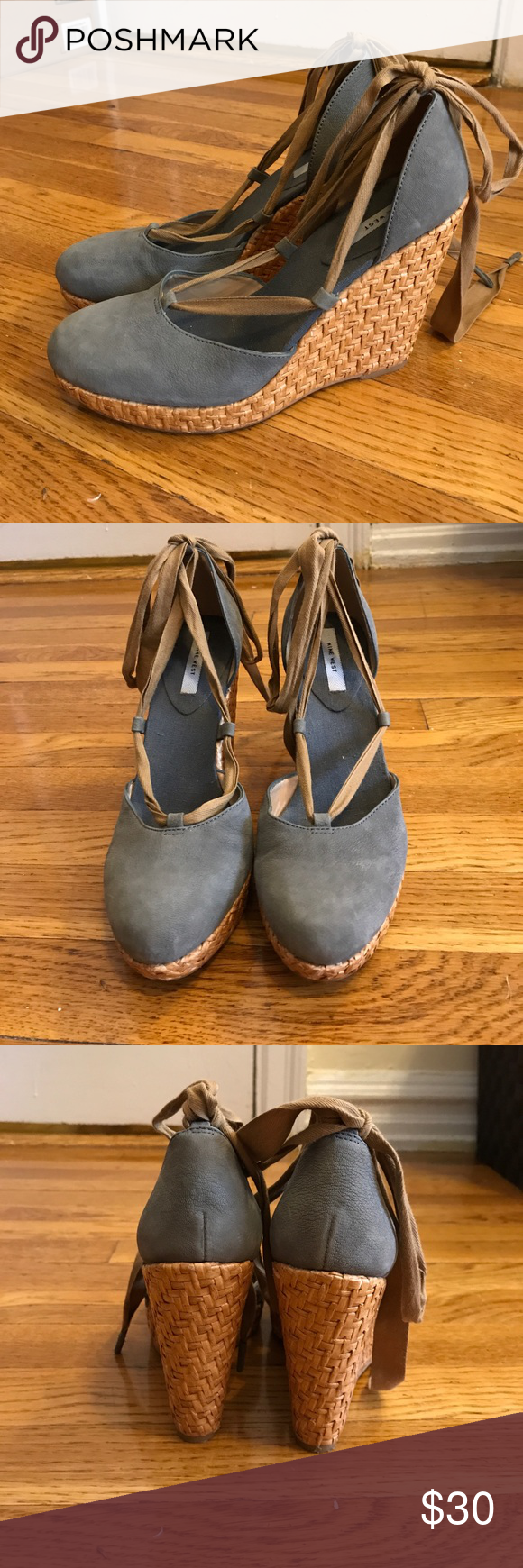 Uncategorized Leather Like Material nine west lace up wedges size 8 5 adorable blue leather like material and brown laces