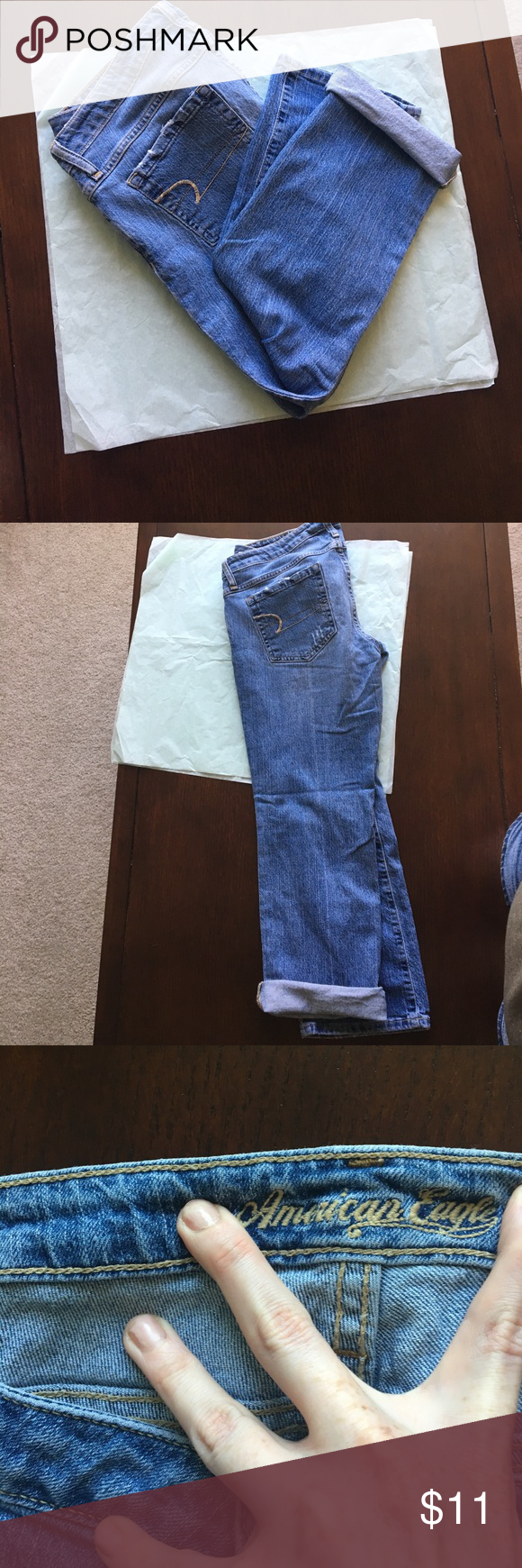 American Eagle denim crops Well loved AE denim crops. No signs of wear, I'm only owner, but have been broken in (makes the best jeans though! Right?)  inseam without cuff approx 26 inches with one inch cuff double folded approx 23 inches (all other measurements given without cuff leg)  hip width approx 17 inches hip to bottom approx 34 inches top of back to bottom of crop approx 37 inches (love higher backs of denim) softness between legs just from wear no holes. Distressed denim was…