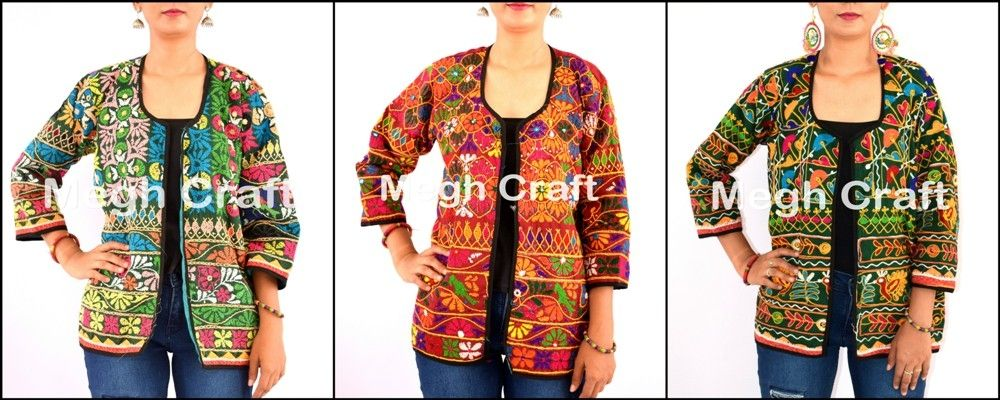 Gujarati Navratri koti-Indian traditional embroidered jacket-ladies shrug  jacket 2017 indo western style